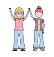 couple characters holding hands together vector image vector image