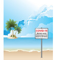 covid19 19 beach distancing sign vector image vector image