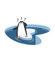 cute penguins on a piece iceberg vector image vector image
