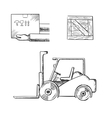 Delivery box crate and forklift truck vector image vector image