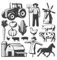 Farming Monochrome Elements Set vector image vector image