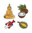 food and buddha statue vector image vector image