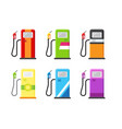 gas station set in various color designs vector image