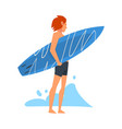 Guy surfer character standing with surfboard