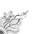 Hand-drawn abstract flower with swirl and dots vector image vector image