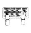 hands in keyboard vector image vector image