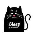 happy cute cat with text sleep is beautiful vector image vector image
