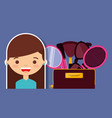 happy girl with kit make up mirror glasses brush vector image