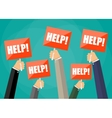 holding red sign boards with the word help vector image