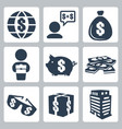 isolated money icons set vector image vector image
