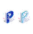 letters p with social networks elements vector image vector image