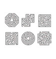 mazes signs black thin line set vector image