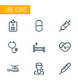 medicine icons line style set with stethoscope vector image vector image