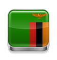 Metal icon of Zambia vector image vector image