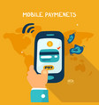 mobile payments with earth vector image vector image
