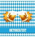 Oktoberfest Two beer mugs on vector image vector image