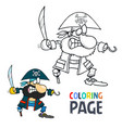 pirate cartoon coloring page vector image vector image