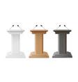 podium wooden and white empty tribune set debate vector image