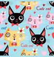 portrait funny cat in love vector image vector image