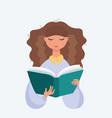 portrait of brunette woman reading book vector image