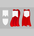 red hero cape fashion costumes and banner blanks vector image