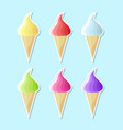 retro flat ice cream icons on pale blue background vector image vector image