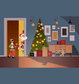 santa claus with elves peeking out from behind vector image vector image