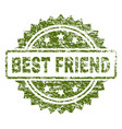 scratched textured best friend stamp seal vector image