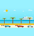 Sea view in summer highway with cars