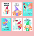 set of cards with cute little enchantresses vector image vector image