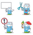 set of milk box character with bring board sign vector image
