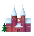 snow-covered brick house in the winter vector image vector image