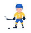 sports child plays professional hockey vector image vector image