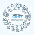 technical support signs round design template thin vector image