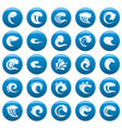 water wave icons set blue simple style vector image vector image