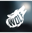 Wolf silhouette with concept text inside on blur vector image