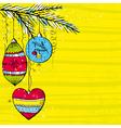 yellow christmas background with christmas balls vector image vector image