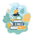 young man sitting on big books stack vector image vector image