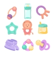 Baby accessories set Cute design pastel colors vector image