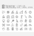 trekking travelling icon collection hiking hand vector image
