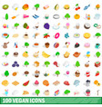 100 vegan icons set isometric 3d style vector image
