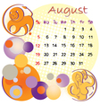 2012 calendar august vector image vector image