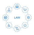 8 law icons vector image vector image
