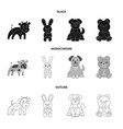 an unrealistic blackmonochromeoutline animal vector image vector image