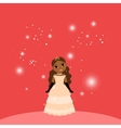 Beautiful cartoon princess on red background vector image