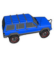 blue off road vehicle on white background vector image vector image