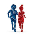 boy and girl running together children running vector image vector image