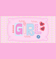 card for girl with seamless texture with dots vector image vector image