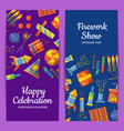 cartoon pyrotechnics vertical flyer vector image
