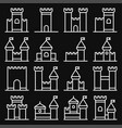 castle icon line style set on black background vector image vector image
